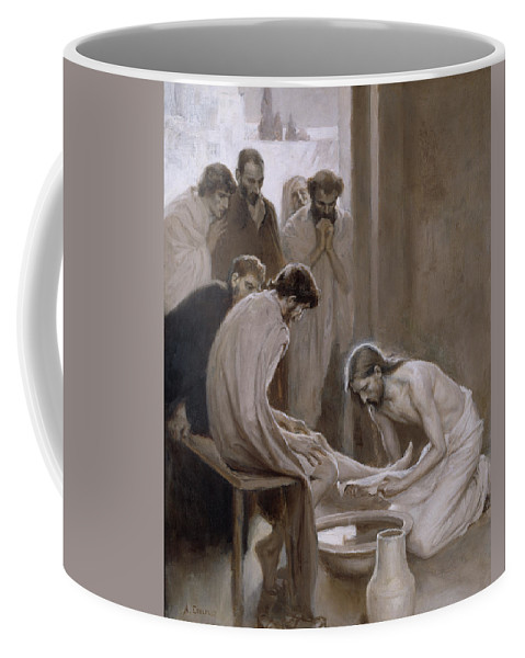 Jesus Disciples Coffee Mug featuring the painting Jesus Washing The Feet Of His Disciples by Albert Edelfelt