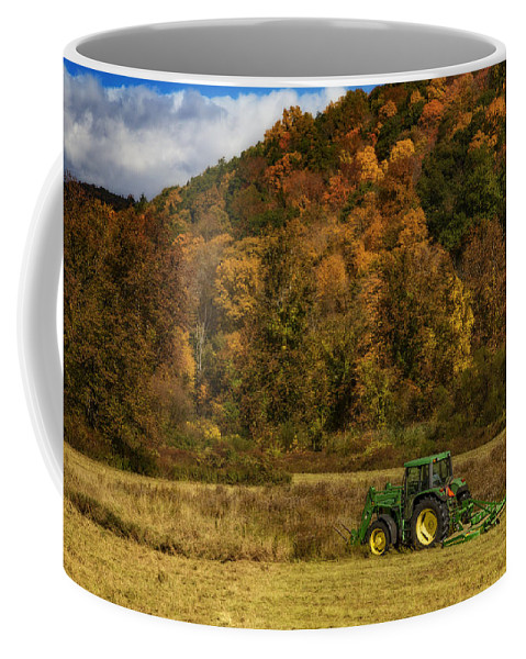 John Deere Coffee Mug featuring the photograph John Deere Tractor by Susan Candelario