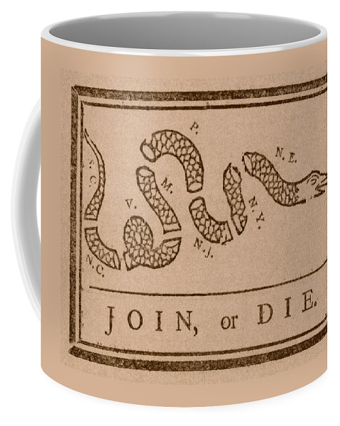 Join Or Die Coffee Mug featuring the mixed media Join Or Die by War Is Hell Store