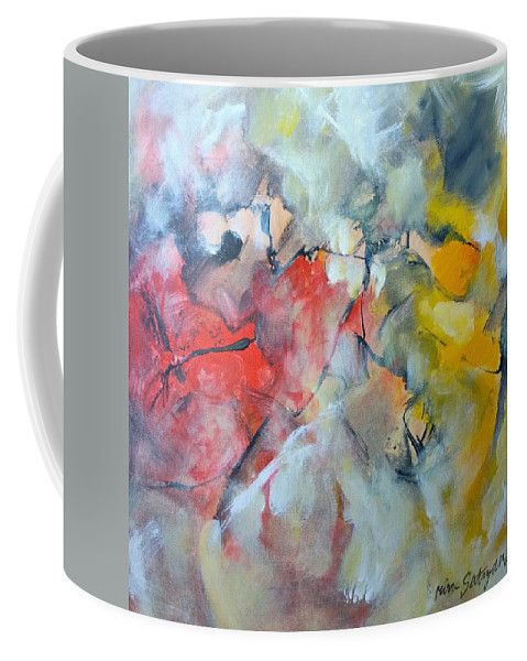 Contemporary Artist Coffee Mug featuring the painting Joy In The Morning by Mira Satryan