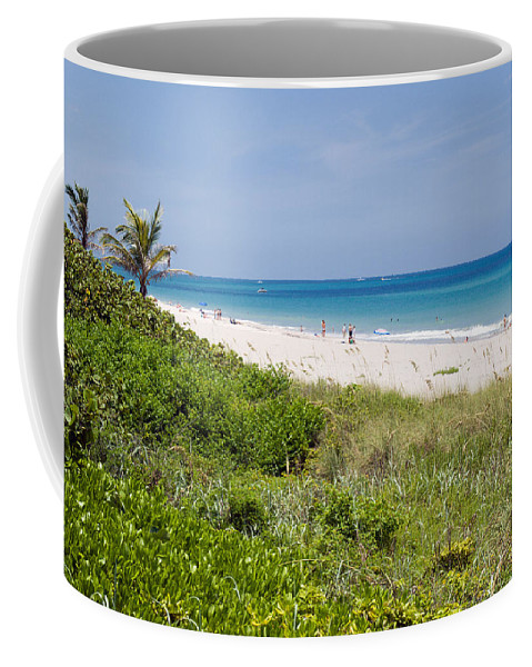 Juno; Florida; Loxahatchee; River; Jupiter; Inlet; Swim; Swimming; Children; Girl; Boy; Woman; Man; Coffee Mug featuring the photograph Juno Beach In Florida by Allan Hughes