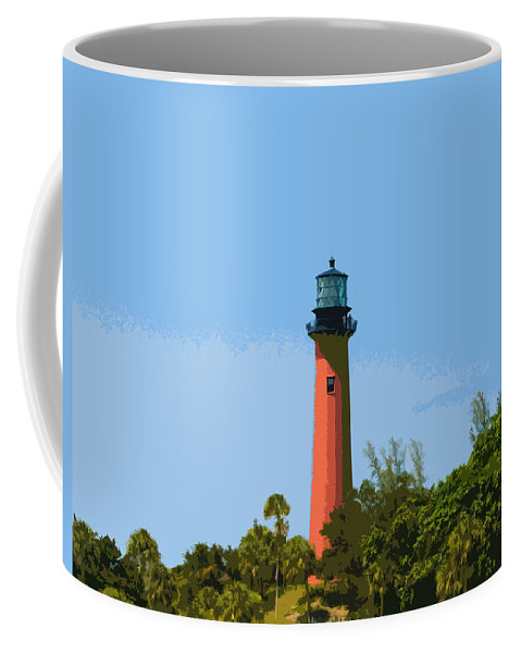 Lighthouse Coffee Mug featuring the painting Jupiter Inlet Light by Allan Hughes