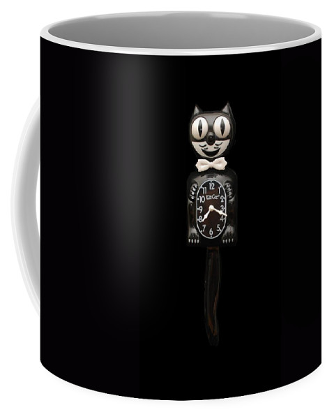 Black And White Coffee Mug featuring the photograph Kit Cat Klock by Rob Hans