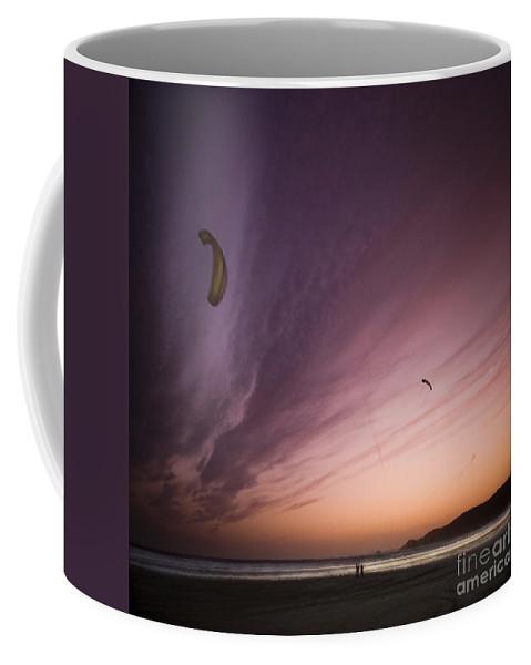 Kite Coffee Mug featuring the photograph Kiting In The Moonlight by Angel Ciesniarska
