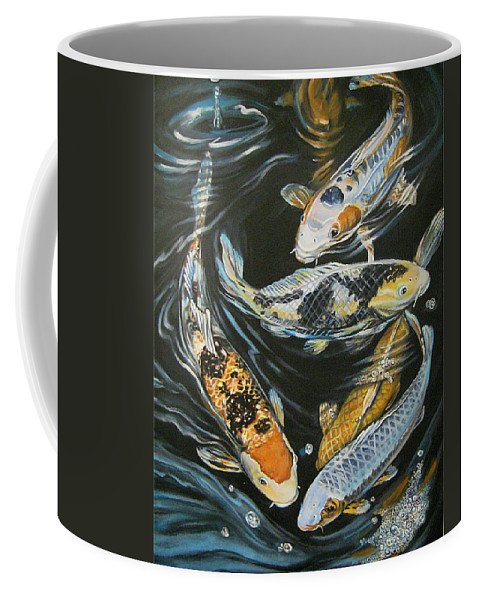 Fish Coffee Mug featuring the painting Koi Pond by Diann Baggett