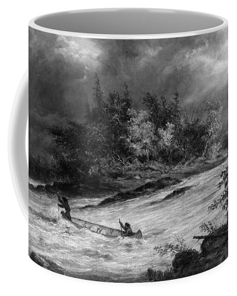 1855 Coffee Mug featuring the photograph Krieghoff: Canoe On Rapids by Granger