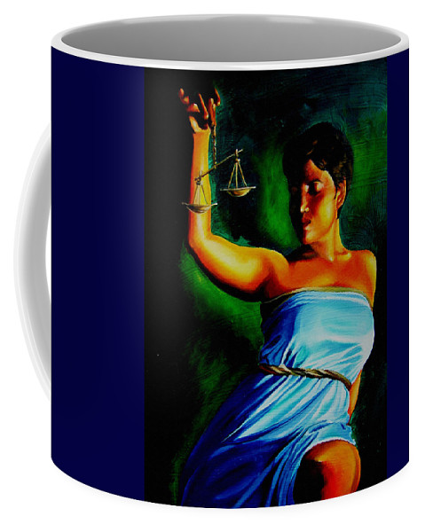 Law Art Coffee Mug featuring the painting Lady Justice by Laura Pierre-Louis