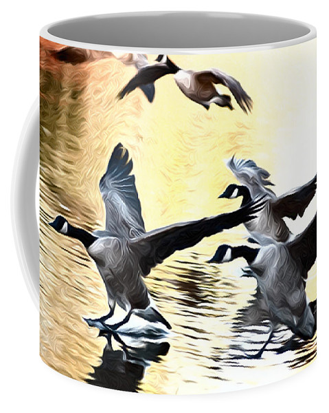Landing Geese Ducks Flight Flying Action Landscape Water On Three Birds Bird Duck Wildlife Animals Animal Coffee Mug featuring the photograph Landing by Andrew Michael