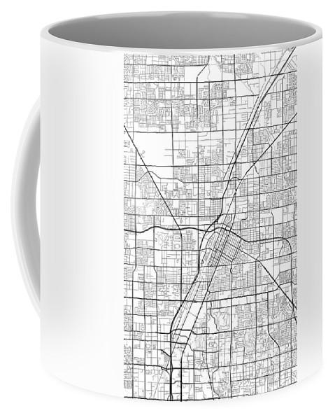 Road Map Coffee Mug featuring the digital art Las Vegas Nevada Usa Light Map by Jurq Studio