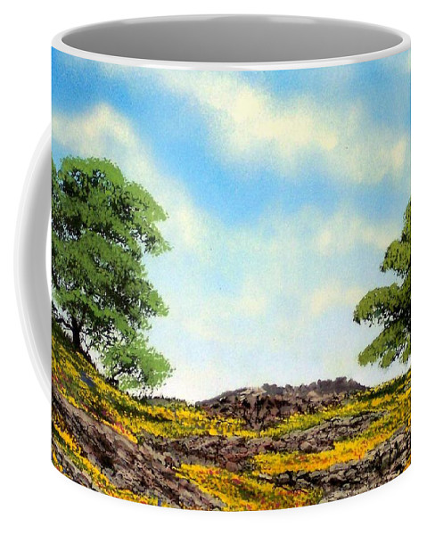 Wildflowers Coffee Mug featuring the painting Lava Rock And Flowers by Frank Wilson