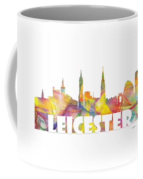 Leicester England Skyline Coffee Mug featuring the digital art Leicester England Skyline by Marlene Watson