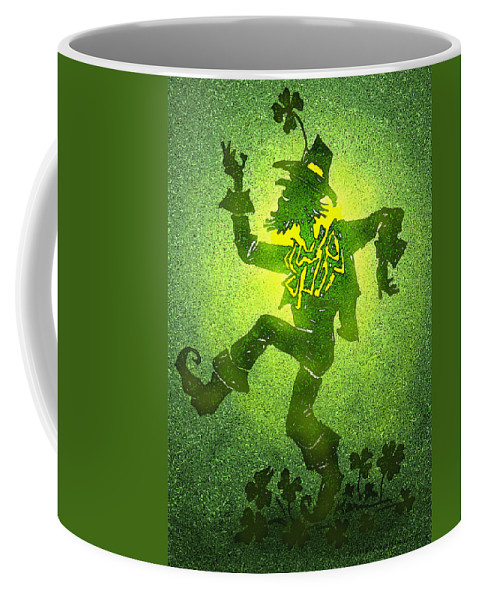 Leprechaun Coffee Mug featuring the painting Leprechaun by Kevin Middleton