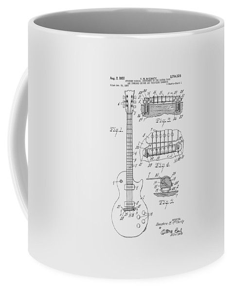 Les Paul Coffee Mug featuring the photograph Les Paul Guitar Patent From 1955 by Chris Smith