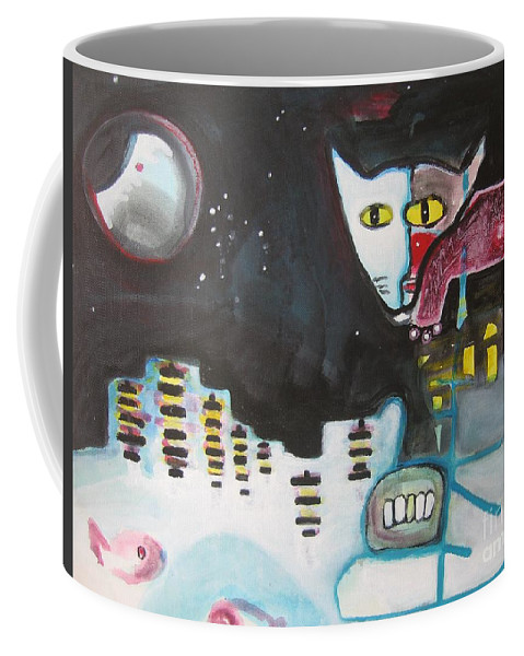Cat Paintings Coffee Mug featuring the painting Let Me Out3 by Seon-Jeong Kim