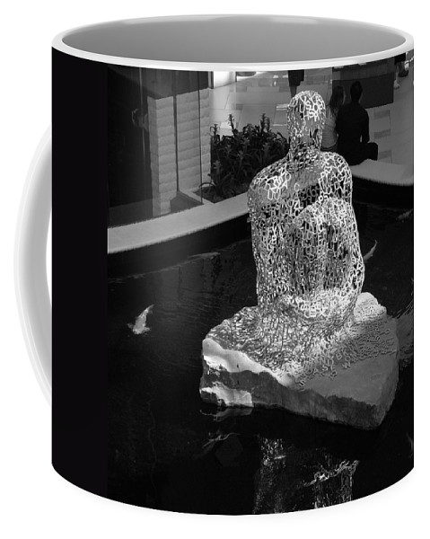 Black And White Coffee Mug featuring the photograph Letterman By Coy by Rob Hans