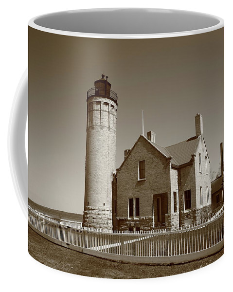 America Coffee Mug featuring the photograph Lighthouse - Mackinac Point Michigan by Frank Romeo