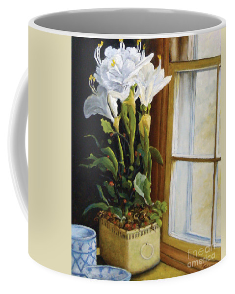 Art Coffee Mug featuring the painting Lillies by Richard T Pranke
