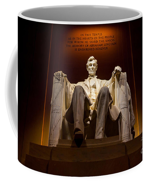 Lincoln Memorial Coffee Mug featuring the photograph Lincoln Memorial At Night - Washington D.c. by Gary Whitton