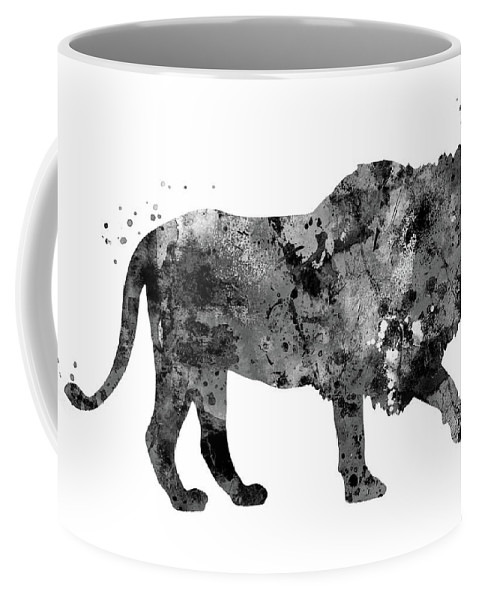 Lion Coffee Mug featuring the painting Lion by Rosalia S