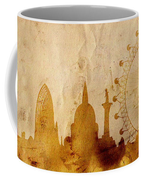 London Coffee Mug featuring the mixed media London by Michal Boubin