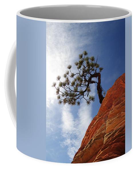 Zion Coffee Mug featuring the photograph Lone Bonsai Tree In Zion by Alan Socolik