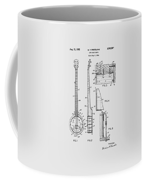 Long Neck Banjo Coffee Mug featuring the photograph Long Neck Banjo Patent From 1964 by Chris Smith