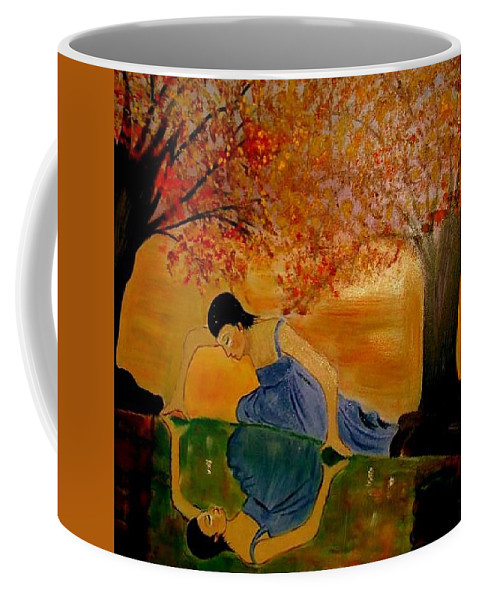 Narcisuss Coffee Mug featuring the painting Looking For Narcisuss by Rusty Gladdish