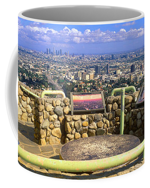 Photography Coffee Mug featuring the photograph Los Angeles Skyline From Mulholland by Panoramic Images