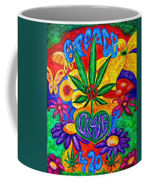 420 Coffee Mug featuring the painting Love And Peace by Diana Haronis