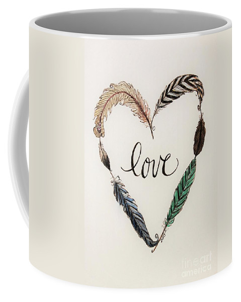 Love Coffee Mug featuring the painting Feathers Of Love by Elizabeth Robinette Tyndall
