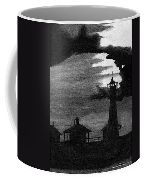 Landscape Coffee Mug featuring the drawing Lydia Ann Lighthouse by Adam Johnson