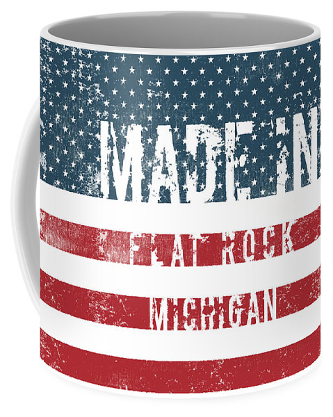 Flat Rock Coffee Mug featuring the digital art Made In Flat Rock, Michigan by Tinto Designs