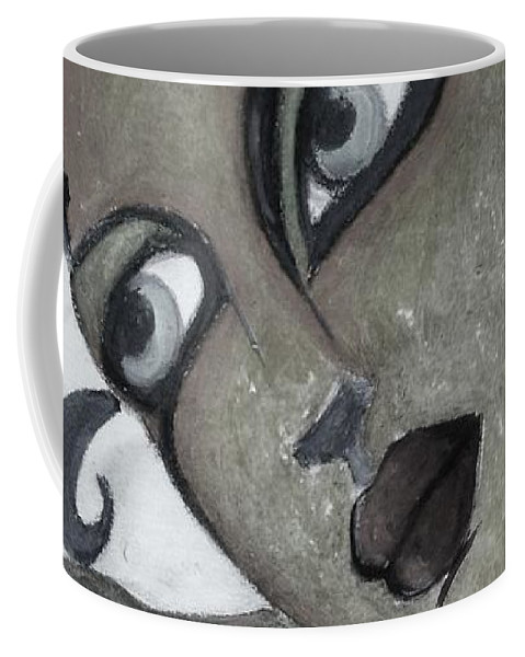 Portrait Coffee Mug featuring the painting The Look Of Love by Vesna Antic