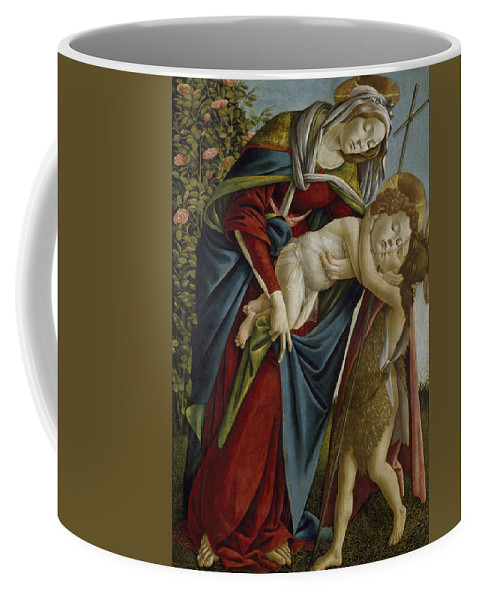 Sandro Botticelli Coffee Mug featuring the painting Madonna And Child And The Young St John The Baptist by Sandro Botticelli