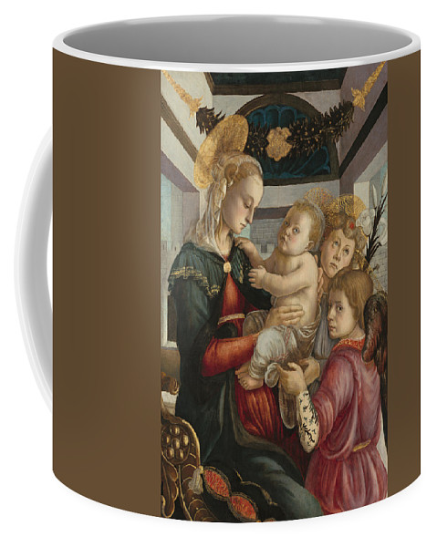 Sandro Botticelli Coffee Mug featuring the painting Madonna And Child With Angels by Sandro Botticelli