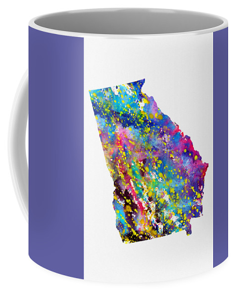 Map Of Georgia Coffee Mug featuring the digital art Map Of Georgia-colorful by Erzebet S