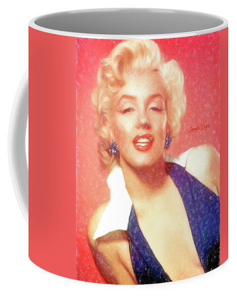 Marilyn Monroe Coffee Mug featuring the painting Marilyn Monroe - Pencil Style by Leonardo Digenio