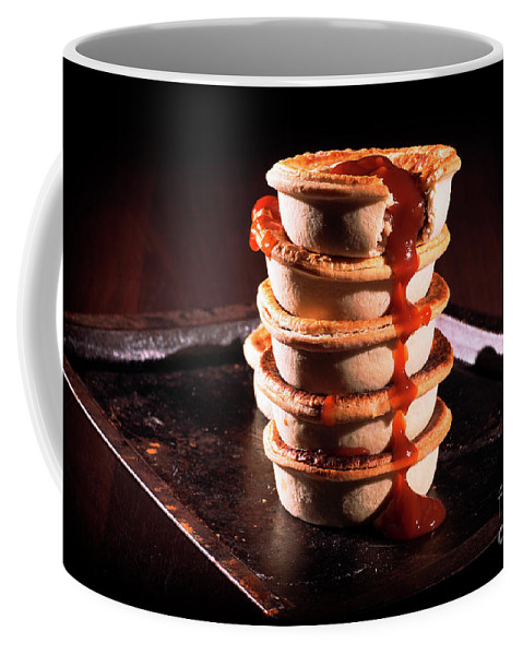 Aussie Coffee Mug featuring the photograph Meat Pies With Sauce And High Contrast Lighting. by Rob D