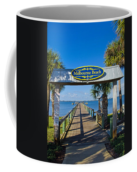 Florida; Melbourne; Beach; Atlantic; Coast; East; Space; Pier; Pineapples; Steamboat; Load; Cargo; I Coffee Mug featuring the photograph Melbourne Beach Florida by Allan Hughes