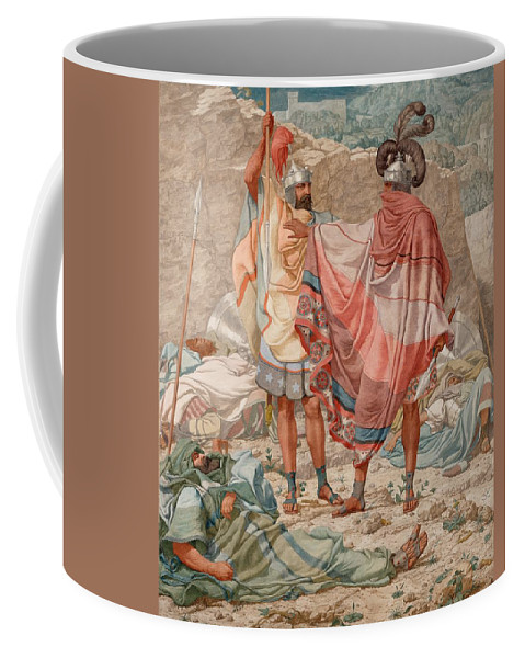 Painting Coffee Mug featuring the painting Mercy - David Spareth Saul's Life by Mountain Dreams