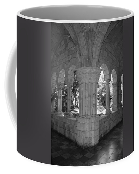 Black And White Coffee Mug featuring the photograph Miami Monastery In Black And White by Rob Hans
