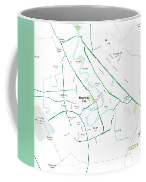 Vector Coffee Mug featuring the painting Minimalist Modern Map Of Baghdad, Iraq 5 by Celestial Images
