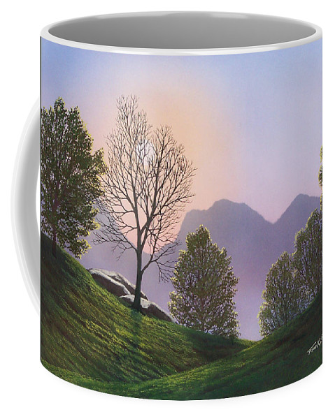 Landscape Coffee Mug featuring the painting Misty Spring Meadow by Frank Wilson