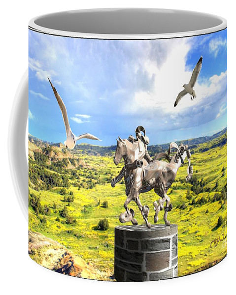Modern Painting Coffee Mug featuring the mixed media Modern Horse Statue by Pemaro