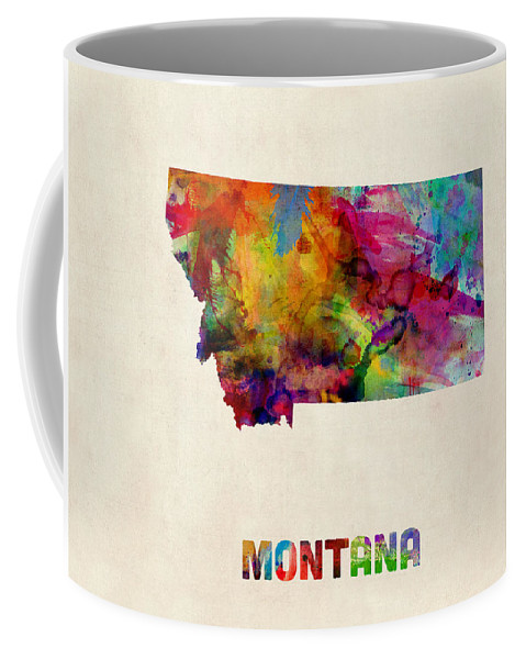 United States Map Coffee Mug featuring the digital art Montana Watercolor Map by Michael Tompsett