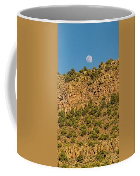 New Mexico Coffee Mug featuring the photograph Moonrise Rio Grande Gorge Pilar New Mexico by Lawrence S Richardson Jr