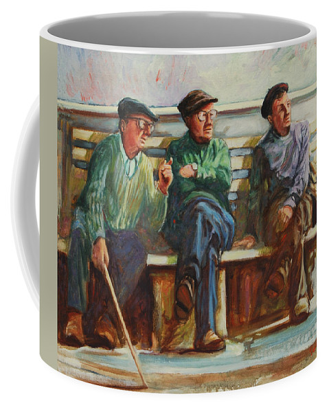 Cafe Coffee Mug featuring the painting Morning Chat by Rick Nederlof
