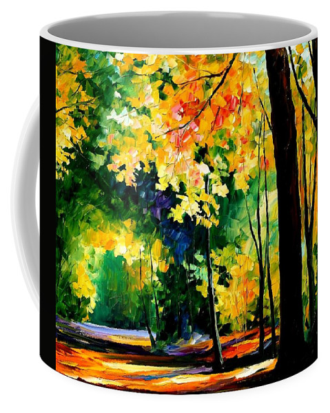 Afremov Coffee Mug featuring the painting Morning Forest by Leonid Afremov