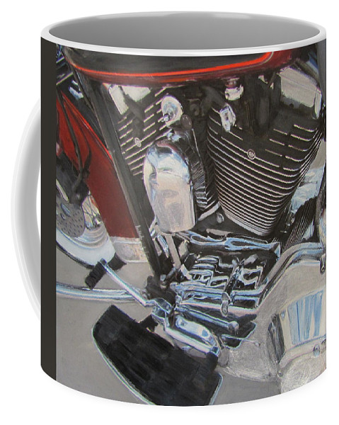 Coffee Mug featuring the mixed media Motorcycle Close Up 1 by Anita Burgermeister