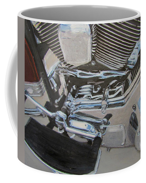 Motorcycle Coffee Mug featuring the mixed media Motorcycle Close Up 2 by Anita Burgermeister